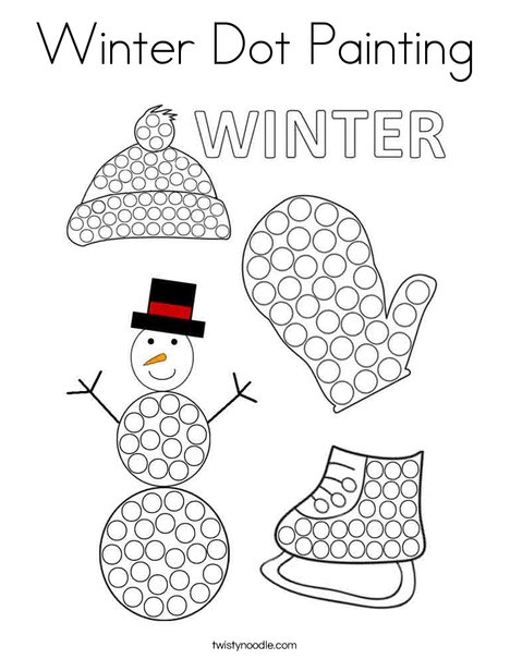 Winter Dot Painting Coloring Page Twisty Noodle