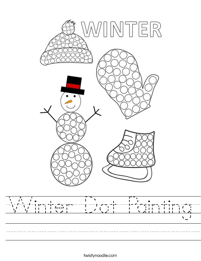 Winter Dot Painting Worksheet