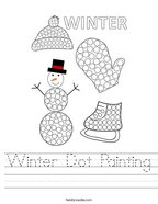 Winter Dot Painting Handwriting Sheet