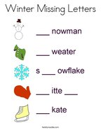 Winter Missing Letters Coloring Page