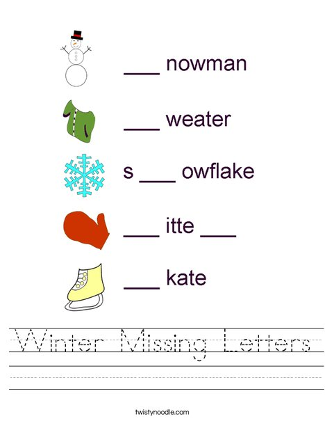 Winter- Fill in the missing letters Worksheet