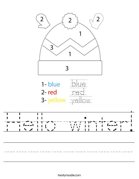 Winter Hat Color by Number Worksheet