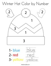 Winter Hat Color by Number Coloring Page