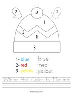 Winter Hat Color by Number Handwriting Sheet