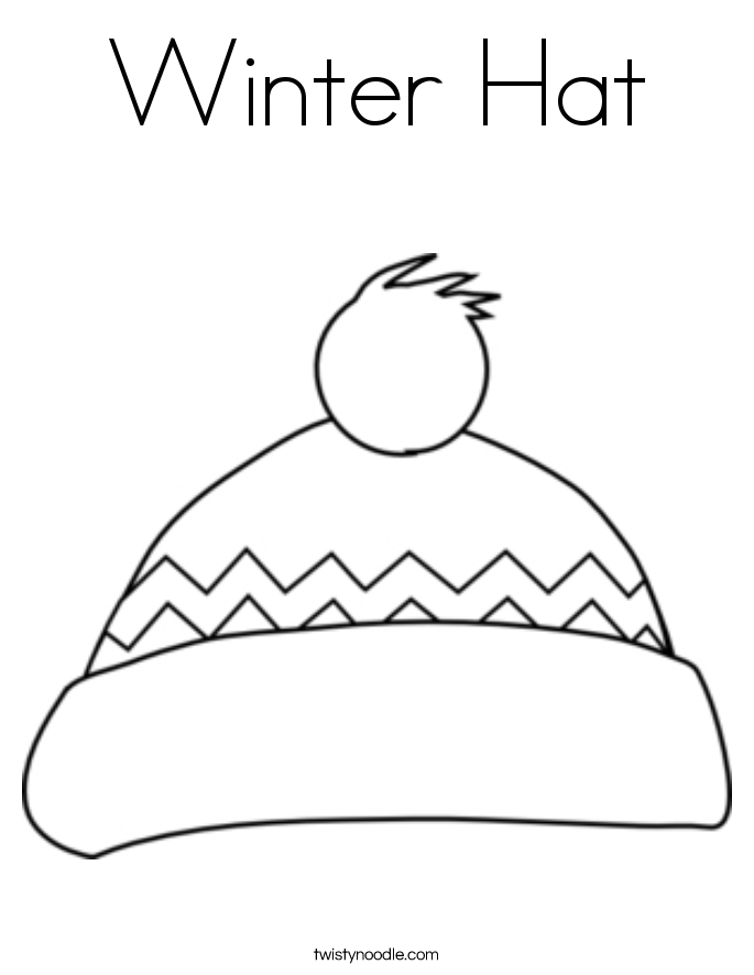 winter hat coloring page twisty noodle - Cat Hat Coloring Pages