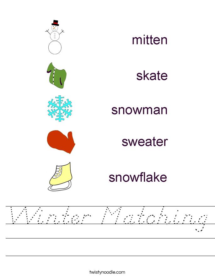 Winter Matching Worksheet