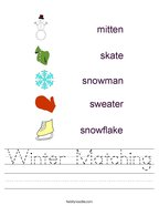 Winter Matching Handwriting Sheet