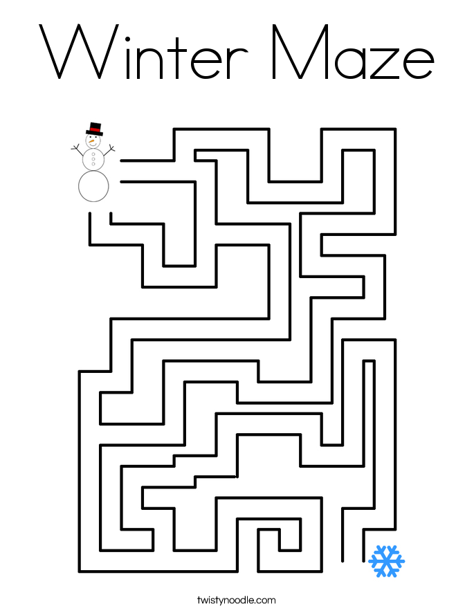Winter Maze Coloring Page - Twisty Noodle