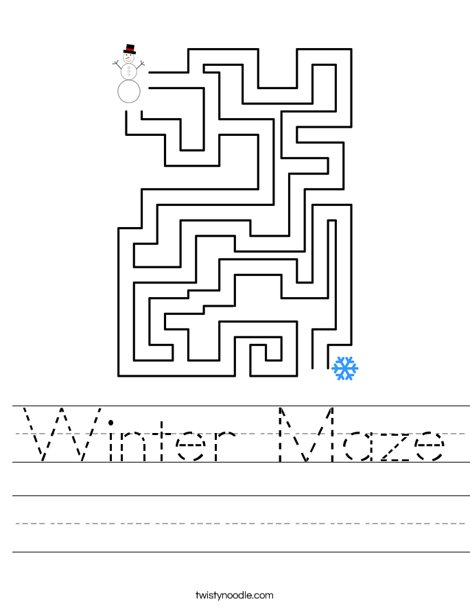 Winter Maze Worksheet