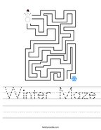 Winter Maze Handwriting Sheet