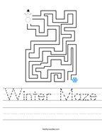 Winter Maze Handwriting Sheet