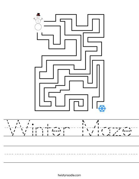 Winter Maze Worksheet