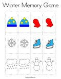 Winter Memory Game Coloring Page