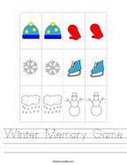 Winter Memory Game Handwriting Sheet