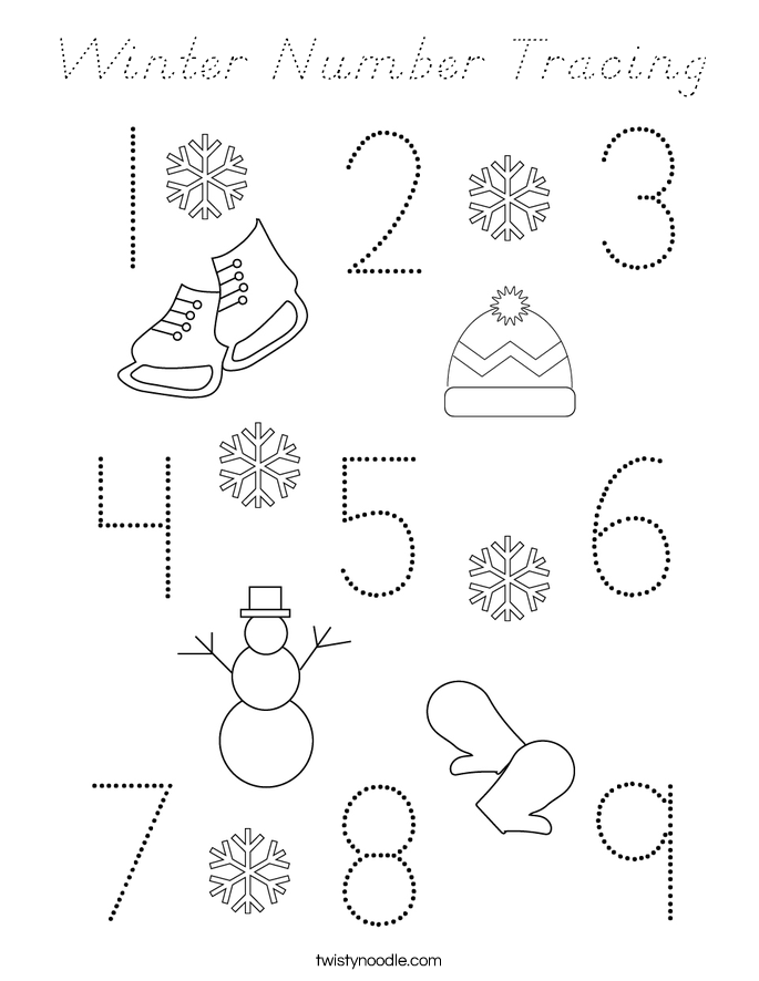 Winter Number Tracing Coloring Page