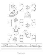 Winter Number Tracing Handwriting Sheet