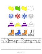Winter Patterns Handwriting Sheet
