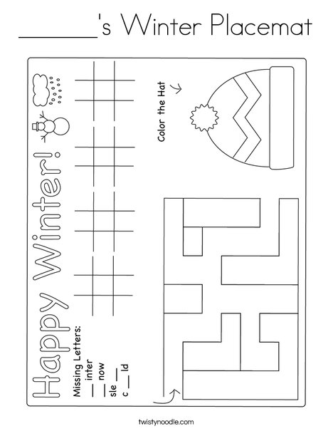 Winter Placemat Coloring Page