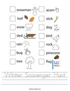 Winter Scavenger Hunt Handwriting Sheet
