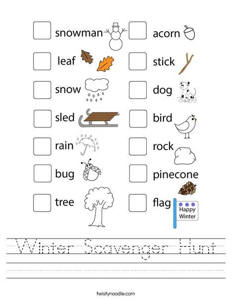 Winter Scavenger Hunt Worksheet