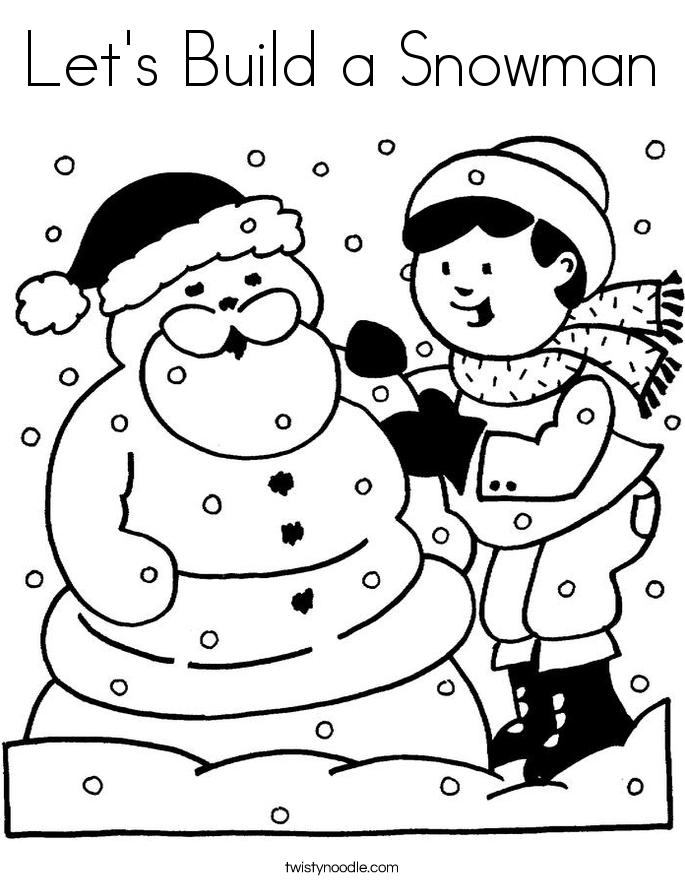 Let's Build a Snowman Coloring Page
