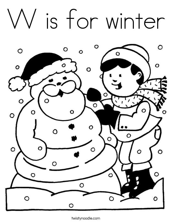 Interesting W Is For Winter Coloring Page With Color