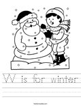 W is for winter Worksheet