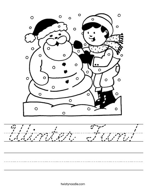 Winter Snow Worksheet