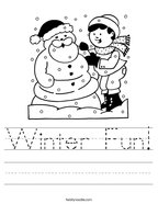 Winter Fun Handwriting Sheet