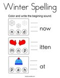 Winter Spelling Coloring Page