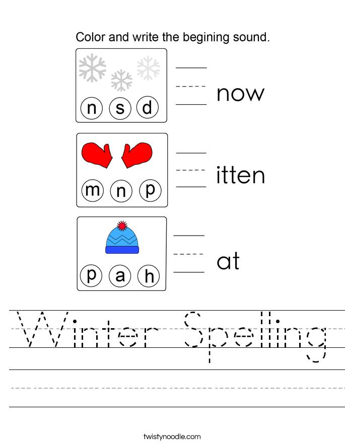 Winter Spelling Worksheet