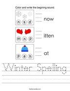 Winter Spelling Handwriting Sheet
