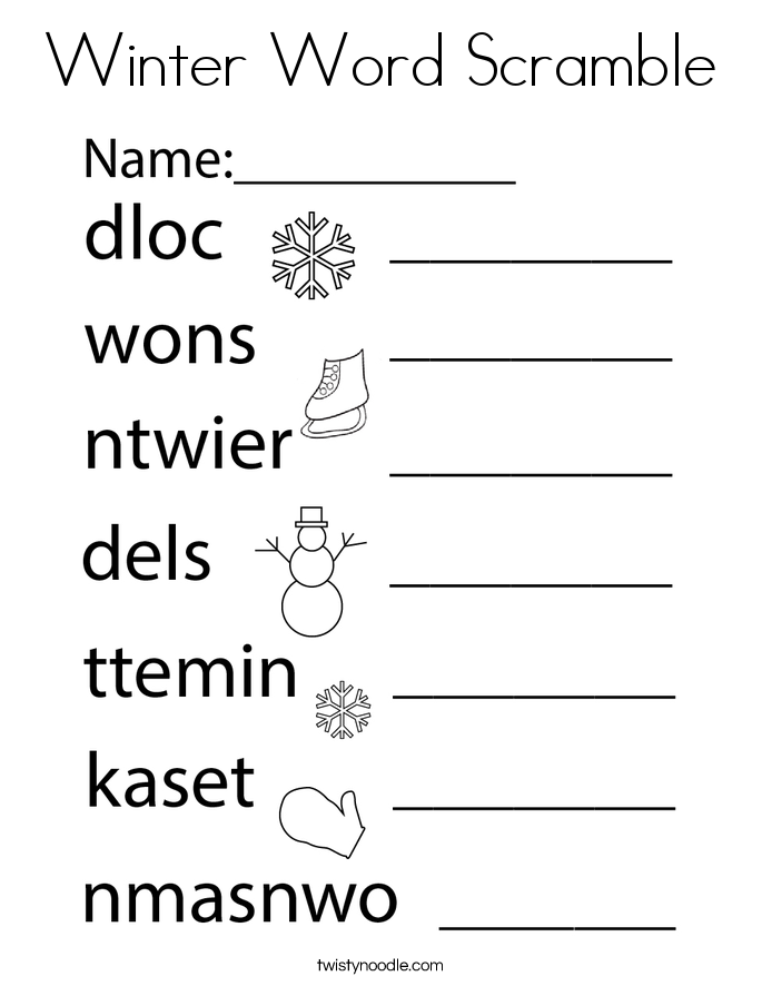 Winter Word Scramble Coloring Page