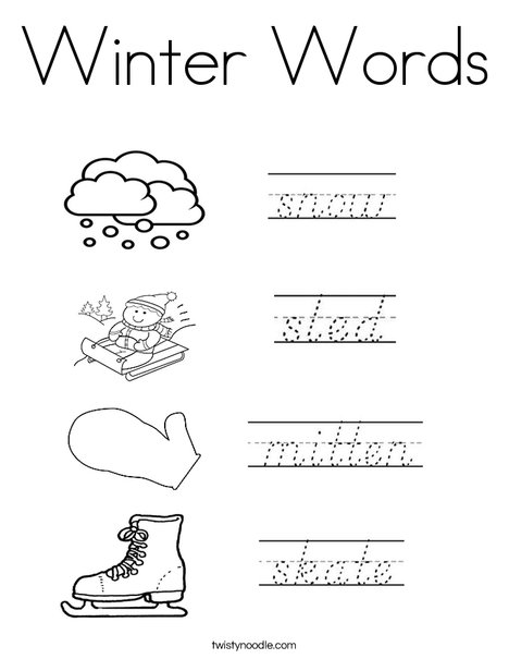 Winter Words Coloring Page Print This