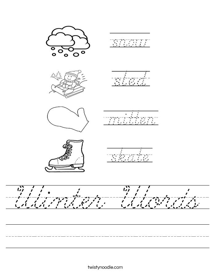 Winter Words Worksheet
