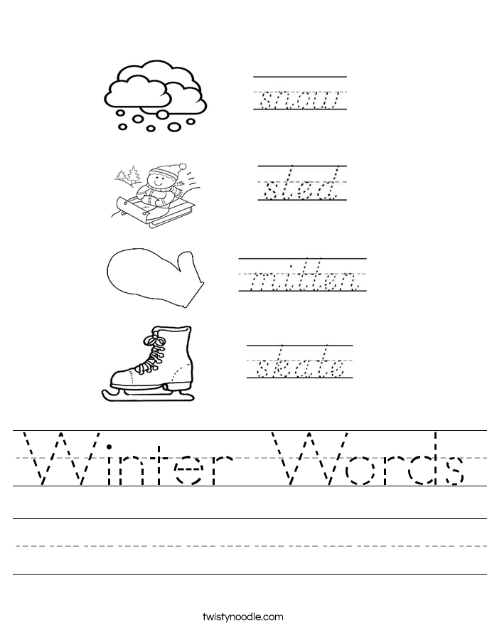 winter words worksheet twisty noodle. Black Bedroom Furniture Sets. Home Design Ideas