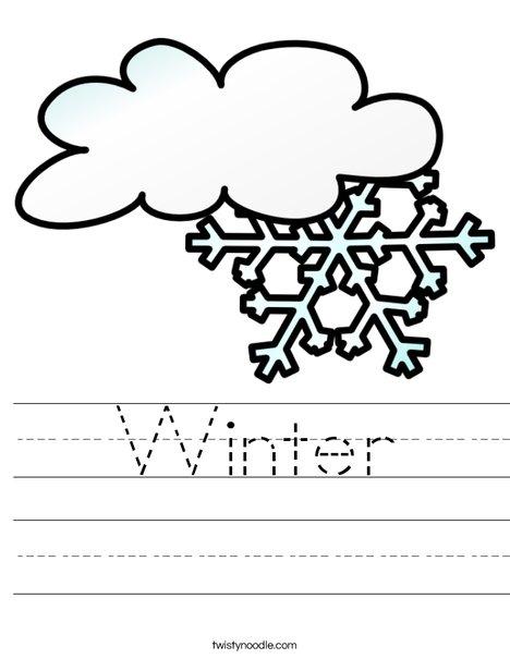 Winter Worksheet - Twisty Noodle