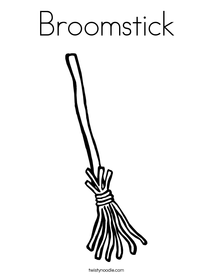 Broomstick Coloring Page Twisty Noodle