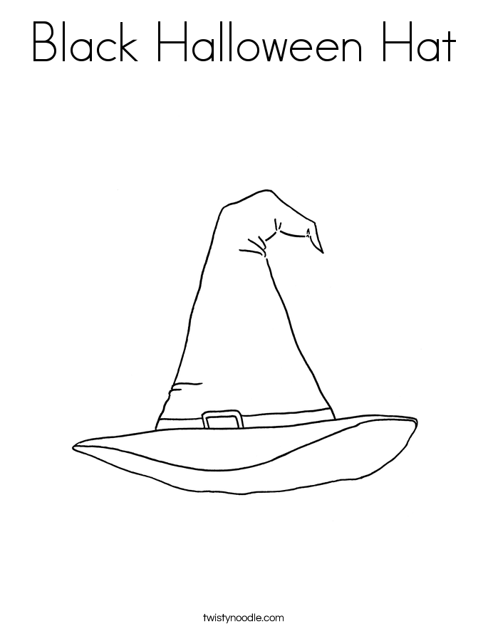 Black Halloween Hat Coloring Page