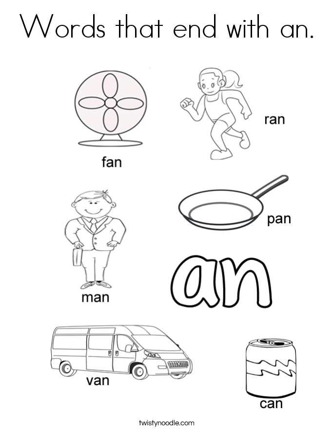 Words that end with an. Coloring Page