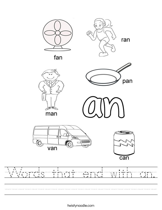 Words that end with an. Worksheet