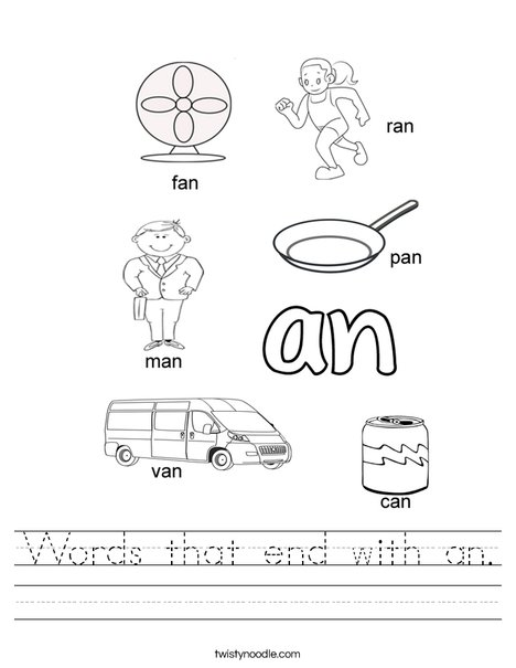 2 letter words ending in q words that end with an worksheet twisty noodle 28515