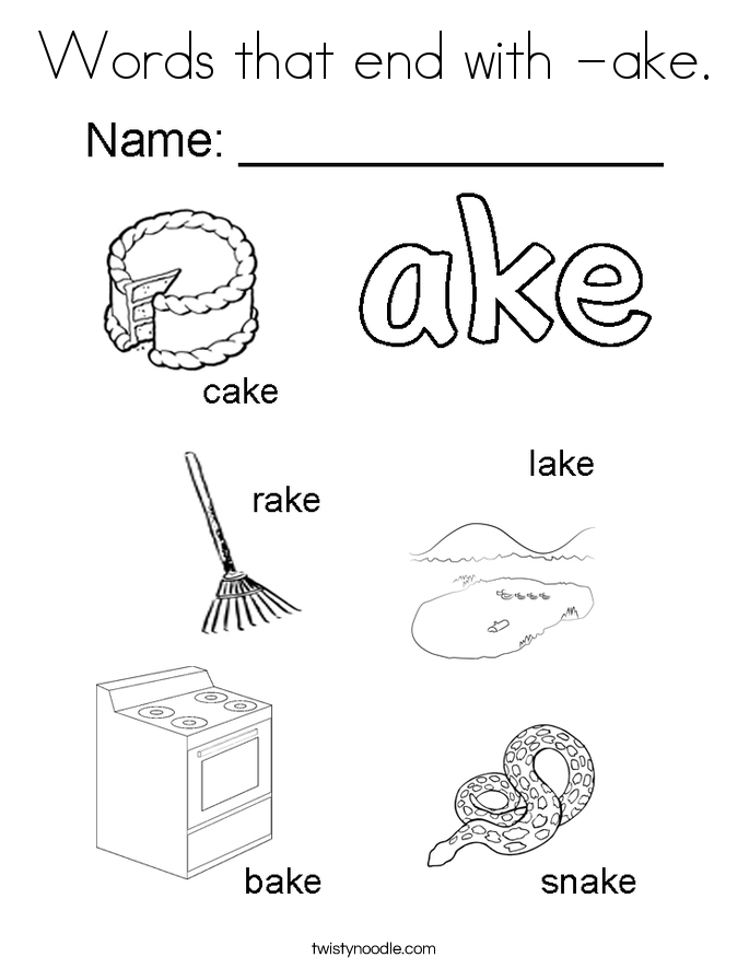 Words that end with -ake. Coloring Page