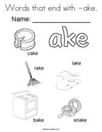 Words that end with -ake Coloring Page