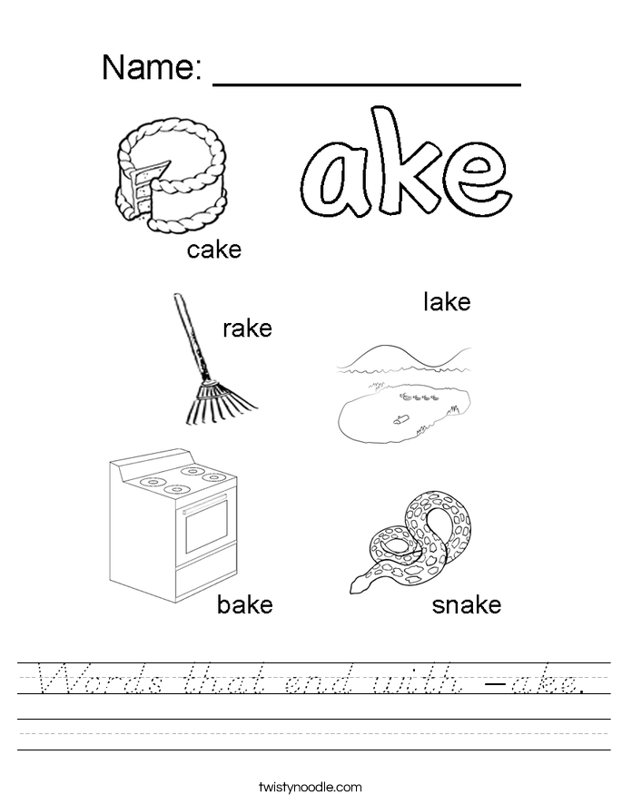 Ake Word Family Worksheets
