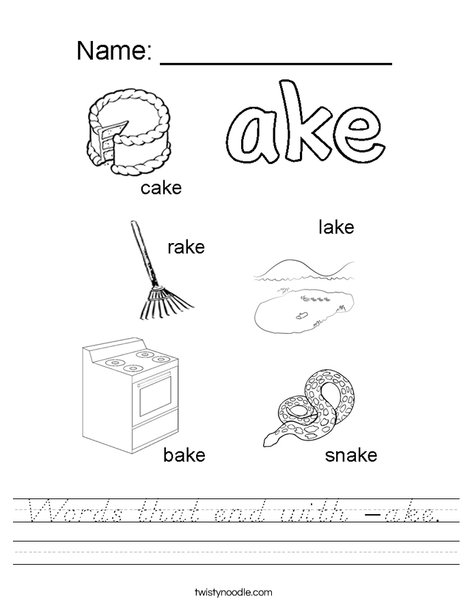 Words that end with ake. Worksheet