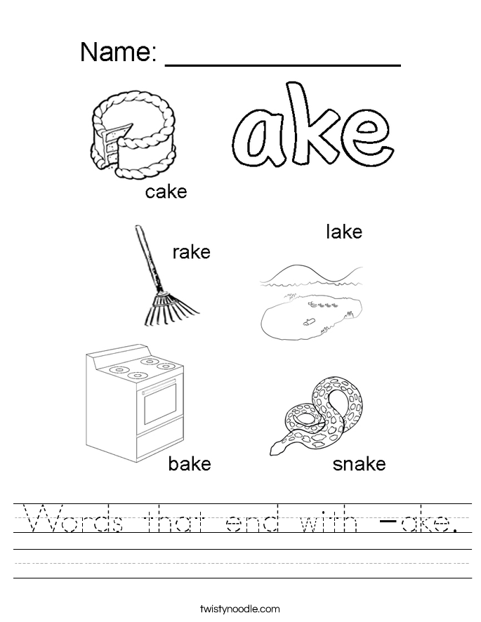 Words that end with -ake. Worksheet