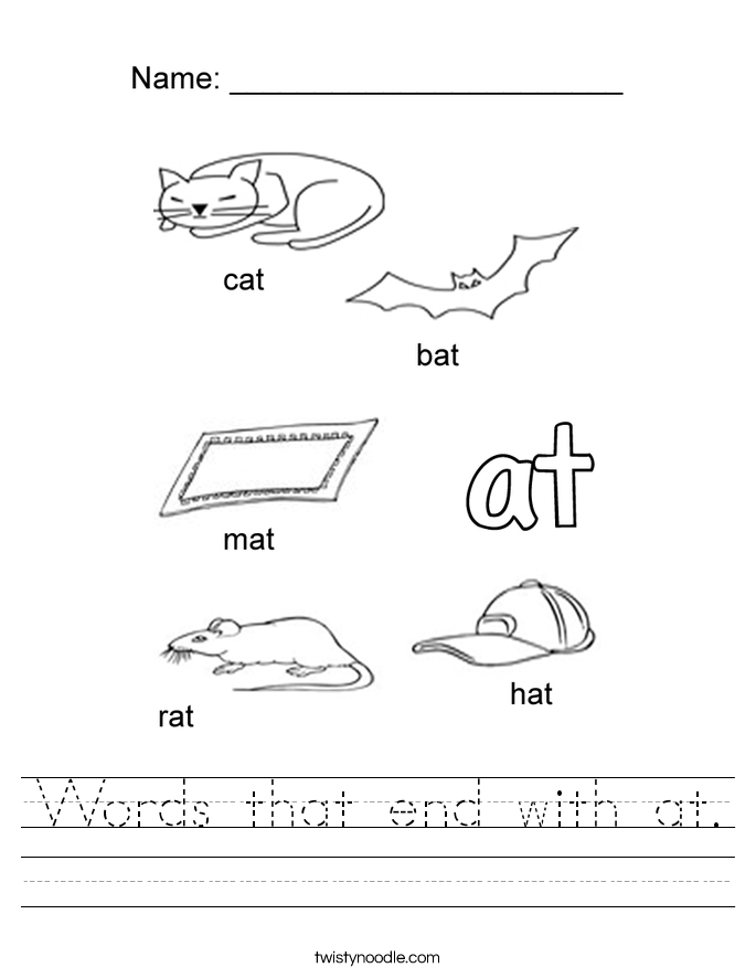 Words that end with at. Worksheet