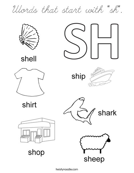 "Words that start with ""sh"". Coloring Page"