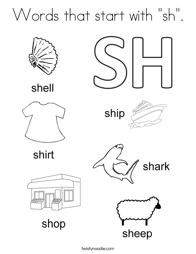 Sh Words Worksheets Kindergarten Sketch Coloring Page